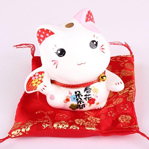 Maneki Neko Figur - kleine japanische Glückskatze mit Kissen - Winkekatze aus Porzellan - Feng Shui Glücksbringer und Spardose - Chinesische Figuren Porzellan