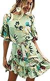 ECOWISH Blumenkleid Damen Sommerkleider Kurzarm rundhals Kleid Strandkleider A-linien Partykleid Minikleider mit Gürtel Grün L
