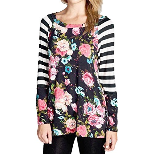 femme blouse Longra Femmes Mode Bande Col rond floral Manche longue Tenue décontractée