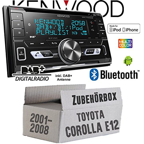 Autoradio Radio Kenwood DPX-7100DAB - 2DIN Bluetooth DAB+ Digitalradio USB CD MP3 Einbauzubehör - Einbauset für Toyota Corolla E12/120 - JUST SOUND best choice for caraudio