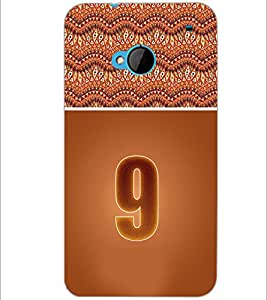 PrintDhaba Numerology Number 9 D-3641 Back Case Cover for HTC ONE M7 (Multi-Coloured)