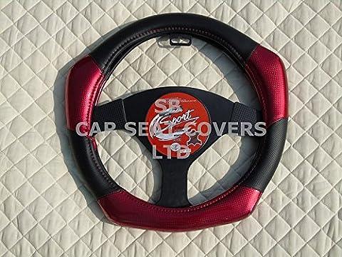 R–Convient pour Ford Grand C-Max de voiture, Housse de volant, EN FIBRE de carbone Look R1Rouge