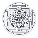 Yantra–Geometría Sagrada–Posavasos (12cm de diámetro) para vasos y botellas de agua para aumentar la vida Energía positiva (transparente)