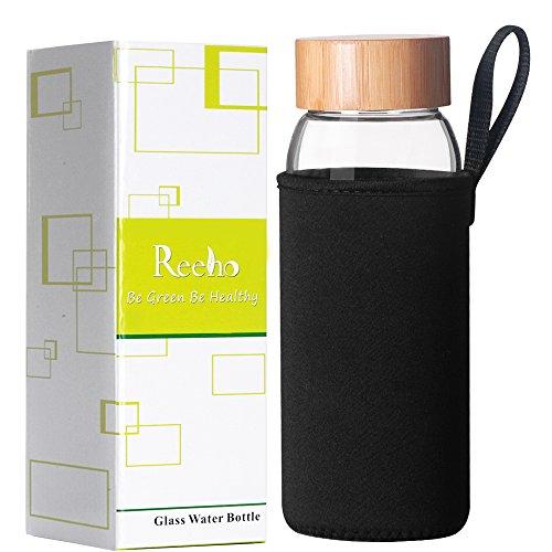 Reeho® Tragbare 700ml Trinkflasche aus Glas, BPA-frei Wasserflasche Glas, Borosilikat Glasflasche Mit Nylon Tasche (Schwarz, 700ml)