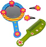 Set: Haarkamm + Handspiegel + 2 Haarspangen - aus Holz - für Mädchen / Kinder - Schmuck Haarschmuck - Blumen rosa Accessoires Haarspange / Haarspangen - Haarclips - Kinderhaarkamm / Haarbürste Blume