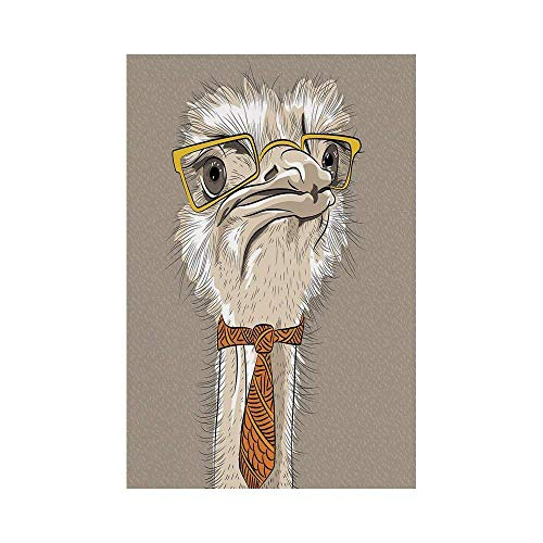Liumiang Eco-Friendly Manual Custom Garden Flag Demonstration Flag Game Flag,Indie,Sketch Portrait of Funny Modern Ostrich Bird with Yellow Eyeglasses and Tie,Taupe Beige Yellowe décor -