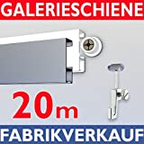 Galerieschiene 20m, Bilderschienen Set Komplettset mit Zubehoer in weiss