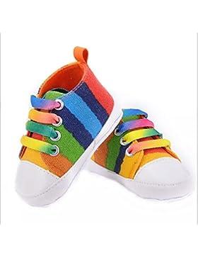 Interesting® Neugeborenes Baby-Mädchen-Regenbogen-Streifen-T-gebunden schnüren sich oben Segeltuch-Turnschuhe...