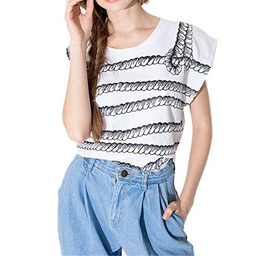 Art Und Weisefrauen Weisses Seil Gedruckte Kurzhuelse Lose Baumwolle Spitzenbluse T Shirt Weiß