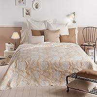 Sancarlos - Colcha diseño aimar crema - doble tela - reversible - esquinas redondeadas