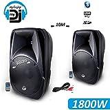 Sistema 2altavoces activos MyDJ amplificados wave-90015'38cm 1800W, USB/SD/BT Sono DJ PA