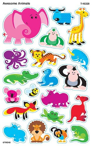 Awesome Animals superShapes Reward Stickers by TREND ENTERPRISES INC.