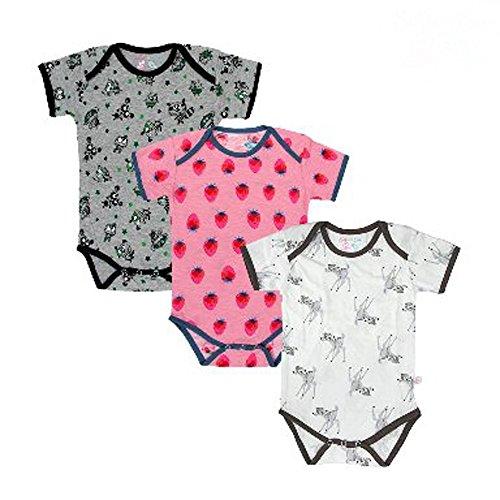 Bio-onesies (Sofie & Sam Bio-Baumwolle Kurzarm 3er Pack Combo 3-6 Monate Baby Body Strampler - Baby Deer,melange with owl & strawberry)