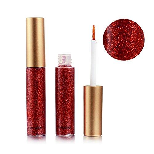 LQZ Lidschatten Flüssig Glitzer Eyeliner Wasserdicht Pigment Glitter - Rot