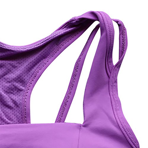 iBaste Soutien-gorge Sport Lingerie Dos Nageur Sans couture Femme Violet