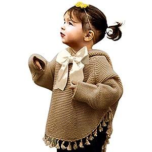Bellelove☺Pullover für Mädchen,Kleine Mädchen Quaste Gestrickt Hoodie Pullover Sweatshirts Lange Ärmel zur Seite fahrenTops