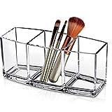 Cratone Pen Pot à crayons Organisateur de maquillage acrylique 3 espaces Coton-Pad...