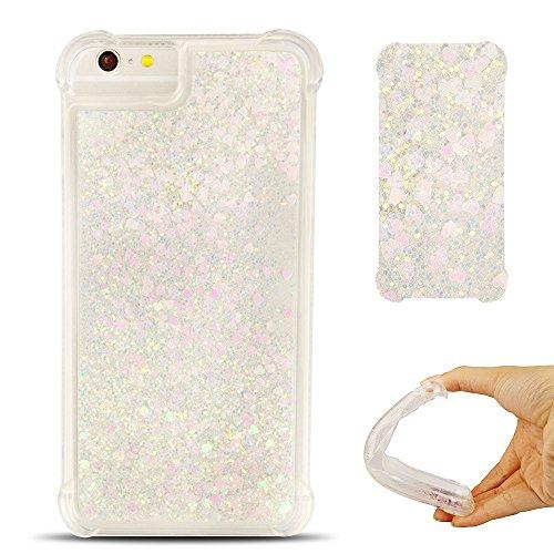 Cover iPhone 6 Custodia iPhone 6s Silicone Liquido Anfire Trasparente Flessibile Plastica TPU Case per Apple iPhone 6/6S (4.7 Pollici) Sabbie Mobili Shell 3D Bling Glitter Floating Quicksand Copertura Silver