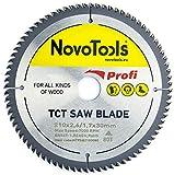 NOVOTOOLS Lama per sega circolare 210 x 30 mm, 80 denti per legno per Festool, Dewalt, Bosch, Makita, ecc. Alta Qualità