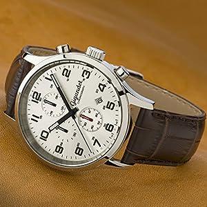 Gigandet Reloj de Hombre Cuarzo Red Touch Cronógrafo Analógico Cuero Plata Marrón G51-003 de Gigandet