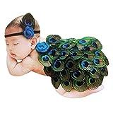 Bébé Déguisement Costume Prop Photographie Bandeau Cheveux Fleur Aile Ange Princesse 0-6M (Paon)