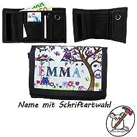 Kinder Geldbörse mit Name / Eulen Geldbeutel / Klettverschluss / Personalisiert / Schriftart Wählbar