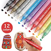 Acrylic Paint Marker Pens, 12 Colors Permanent Paint Art Marker Pen Set for Rock Painting, Ceramic, Wood, Canvas, Glass Painting, Mug Design, Ideal for DIY Arts & Crafts Projects Christmas Gift