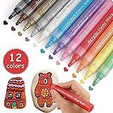 Acrylfarbe Marker Stifte, Weihnachtsgeschenk 12 Farben Permanent Farbe Art Mar