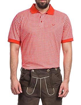 Tracht & Pracht Herren 100% Baumwolle - Trachtenhemd Polo T-Shirt Karo