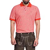Tracht & Pracht Herren 100% Baumwolle - Trachtenhemd Polo T-Shirt Karo Rot - XL