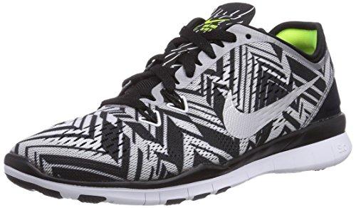 NikeFree TR 5 Print - Scarpe fitness Donna , Multicolore (Mehrfarbig (Black/Metallic Silver/White/Volt)), 35.5