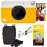 Kodak Printomatic Sofortbildkamera (Gelb) Basis-Paket + Zinkpapier (20 Blätter) + Luxus-Etui + Bequemer Halsriemen