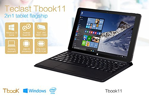 """Teclast Tbook11 Tablet PC 10.6"""" Dual OS Windows 10/ Android 5.1 Cherry Trail T3 Z8300 Quad Core 4G RAM 64G ROM HDMI+Keyboard"""