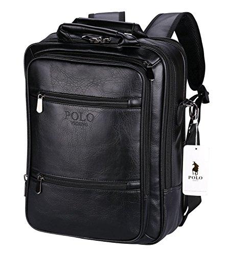 VIDENG POLO Laptop Rucksack Leder RFID Blockierung Sichern Geschäft Reise Schule Taschenzum 13 15 17 Zoll (Schwarz-V6) (Schwarze Trainer-laptop-tasche)