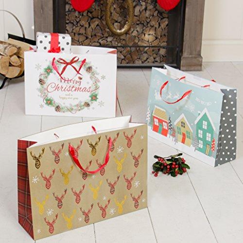 Weihnachten Festive giftbags mit einer Vielzahl von Designs–Ideal für Tragen Geschenke, Flaschen und mehr dieses Weihnachten., beschichtetes Papier mit Band Griffe–H23.5X B 45x d13.5cm eacha (Extra Große Kunststoff-weihnachten-geschenk-taschen)