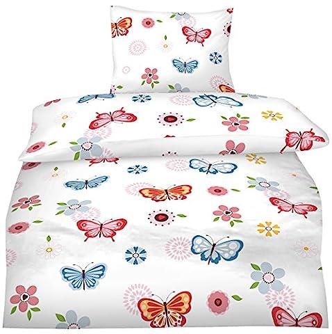 Aminata - moderne Teenager Mädchen Bettwäsche 135x200 Schmetterlinge Jugendliche rosa pink blau
