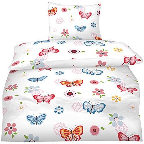 Aminata - Bettwäsche Schmetterling 135x200 Mädchen Jugendliche Teenager Jugend rosa pink blau