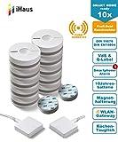 Rauchmelder 10er Set (VdS - DIN EN 14604) - Funk Vernetzbar - Dual + 2x WLAN Gateway + Magnethalterung + Lithium 10 Jahres Batterie von iHaus Smart Home