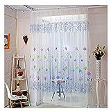 Notdark 1 Stück Lotus Print Tulle Voile Vorhang Fenster Vorhang Bestickt Sheer Für Küche Wohnzimmer Schlafzimmer Fenster Screening 200x100cm (200cm x 100cm, Blau)