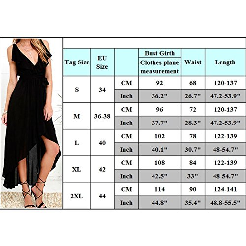 M-Queen Femme Bohême Robe Sexy Col V Eté Casual Robes de Plage Party Longue Dress Noir