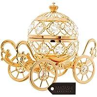 24K Gold Plated Crystal Studded Large Cinderella Pumpkin Coach Ornament by Matashi