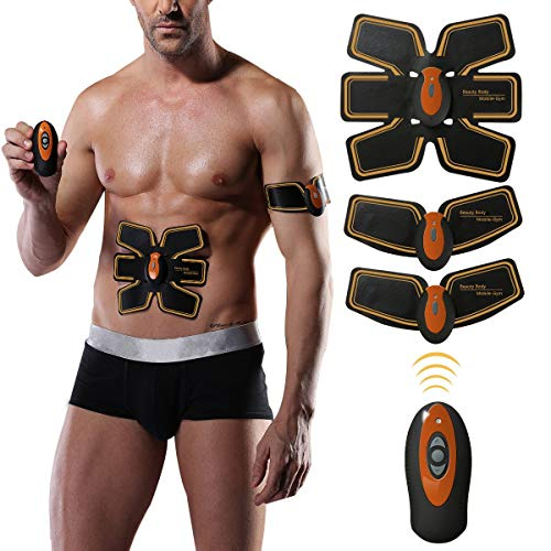 Charminer Muscle Toner, Abs Trainer EMS Muscle Stimulator, Abdominal Toning Belt, Body Fitness Training Machine Waist Trainer, Gym Workout And Home Fitness Apparatus For Men Women Black Orange