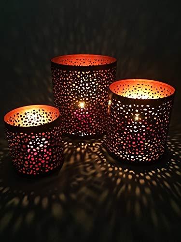 3er Set Orientalisches Windlicht Laterne orientalisch Estelle 14cm Groß | Orientalische Vintage Teelichthalter Kupferfarben innen schwarz außen | Marokkanische Windlichter aus Metall als Dekoration