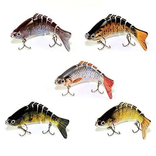 Kit de 5 leurres poissons nageurs articulés pour sandre ou brochet