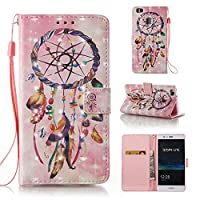 HUAWEI P9 Lite Case, Iddi-Case Fashion Cute Pattern Luxury Pu Leather Wallet Magnetic Design Flip Folio Protective Case Cover with Card Holder - Dreamcatcher