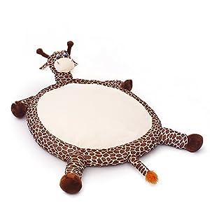 Lit d'animal de compagnie Type de girafe Canne douce Canin Coussin chaud Lavable Amovible Out Couverture Oreiller intérieur rond