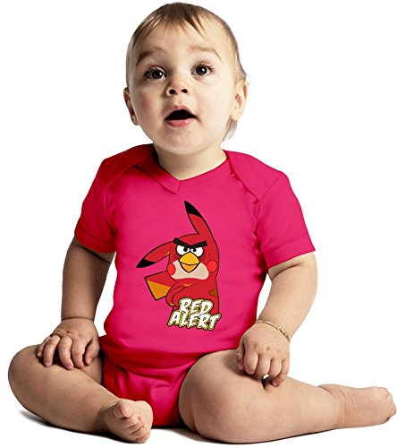Red Alert Amazing Quality Baby Bodysuit by Benito Clothing - Made From 100% Organic Cotton- Super Soft V-Neck Style - Unisex Design- Perfect As A Present