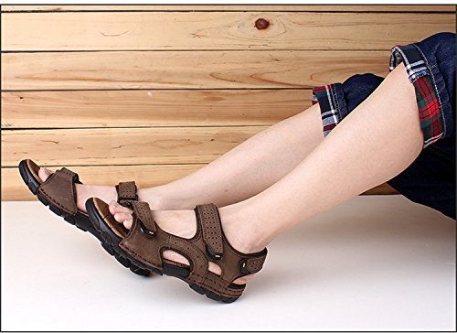 Sport Sandale, Nasonberg Cowhide Unisex Herren Damen Strand Wandern Sommer Sandale im Freien Wandern Sport Sandale Dunkelbraun