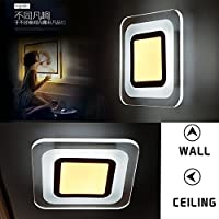 YUENSLIGHTING Acrylic LED Square Panel Lamp Modern Simple Warm White 2800-3200K Ceiling Light for Office, Living Room, Balcony from YUENSLIGHTING