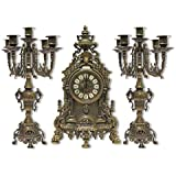 Tríptico reloj barroco de latón bruñido con candelabri Francés de consola